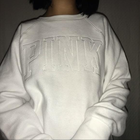 PINK Sweaters - PINK white sweatshirt